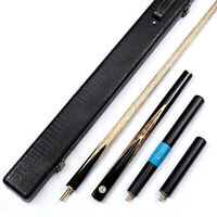 "Grand-Cues  58""   3/4 Piece Black Ebony+Maple Burl Snooker/Pool Cue Set@YW49"