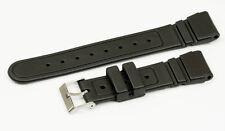 22mm Negro Correa de goma Divers pesado hebilla de acero de grado Impermeable Banda +