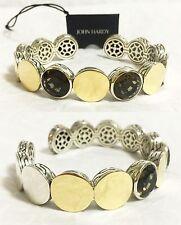 $1,995 John Hardy 44g sz M Dot 18k Gold Smoky Quartz Silver Cuff Bracelet Women