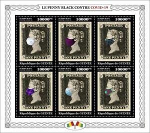 Guinea Medical Stamps 2020 MNH Penny Black Stamps-on-Stamps Corona 6v M/S