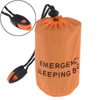 Reusable Emergency Sleeping Bag Waterproof Survival Camping Travel Bag & WhistBB