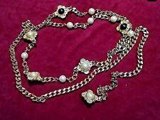 ~MASSIVE! VTG Designer Faux Pearl Cabochon Gold Link Chain Multi Strand NECKLACE