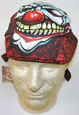Killer Clown Tattoo Large Headwrap Premium Sweatband Durag Biker Skull Cap