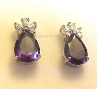 E02 Purple Pear Amethyst, Silver / White Gold GF Stud Earrings BOXED Plum UK