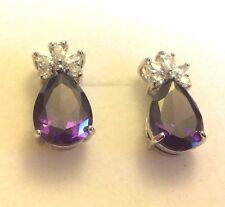 E02 Purple Pear Amethyst, Silver / White Gold GF Stud Earrings BOXED Plum UK