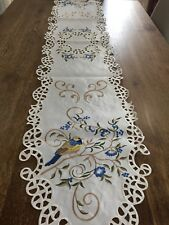 Spring Floral Embroidered Table Runner Scalloped Botanical Birds Table Linen