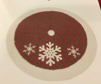 "NEW December Home 48"" Snowflake Plaid Christmas Tree Skirt  Red White"