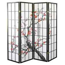 "4 Panel 70""x70"" Shoji Screen Room Divider/Privacy Wall-Plum Blossom, Black Wood"