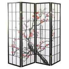 """4 Panel70""""x70"""" Shoji Screem Room Divider/Privacy Wall-Plum Blossom, Black Wood"""