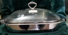 """Princess House Stainless Steel 12"""" x 12"""" Baker with Glass Lid #6148 New"""