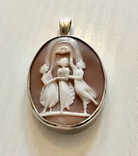 Lovely Antique Solid Silver Three Graces Cameo Pendant