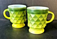 2 Vintage Fire King Kimberly Diamond Point Coffee Green Cups Mugs Stackable MCM