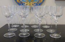"Lalique Roxane Set of 12 Wine Goblets 6 7/8"" High"