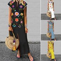 ZANZEA Women Short Sleeve Long Maxi Dress Summer Beach Party Sundress Plus Size