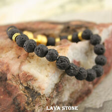 Fashion Lava Stone Energy Gold Dumbbell Beaded Charm Bracelet Jewelry Women Men