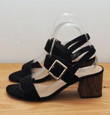 M&S Collection sandals size 5.5 black suede wooden heel Marks Spencer sling back