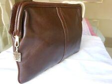 LANVIN PARIS Vintage Genuine Leather Brown Clutch / Travel / Toiletry Bag -Italy