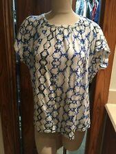 NWOT Rebecca Taylor 100% Linen Blue Raglan Sleeve Blouse Top  sz M FS