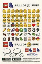 LEGO • ADESIVI Lego Life Stickers Ninjago Movie Life Emoji Mini Facce Faces RARO