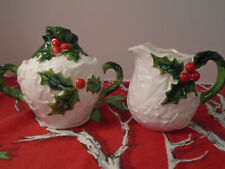 Lefton #6062 White Holly Berry Creamer and Sugar with Lid/ Vintage Holiday