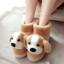 Women's Home Slippers Warm Fluff Cute Puppy Casual Round Toe Shoes Pull on