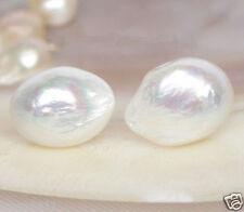 BAROQUE! 16mm white freshwater pearls Earrings Stud 14K gold post