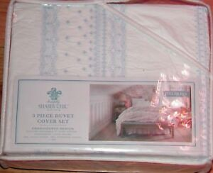 SIMPLY SHABBY CHIC DUVET COVER WHITE RUFFLED PINK BOHEMIAN EMBROIDERED BLUE