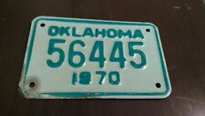 1970 OKLAHOMA   License Plate * Motorcycle *** OK  '70 #56445