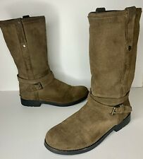 Women's Coach Boots Vallie Fatigue Brown Leather Boots, Size 9B Good Condition