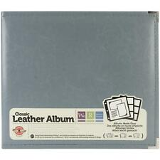 """WE R MEMORY KEEPERS FAUX LEATHER 3-RING SCRAPBOOK ALBUM 12""""X12""""-CHARCOAL GRAY"""