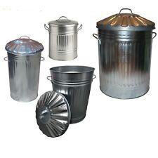 Galvanised Metal Bin 15L 30L 40L 60L 90L 110L 125L Rubbish Waste Dustbin Storage