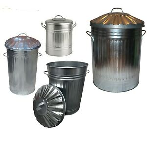 Galvanised Metal Bin 15L 30L 40L 60L 90L 110L 125L Rubbish Waste Dustbin Storage