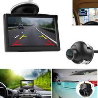 """5"""" TFT LCD Mirror Monitor+170° Car Rear View Backup Parking Camera Night Vision"""