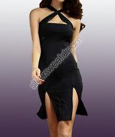 Vestito SPACCO INCROCIO abito sera donna fasciato vestitino PARTY ELEGANTE 2015