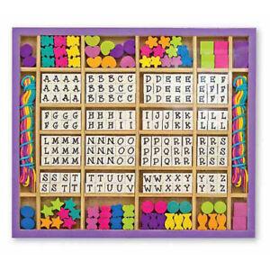 Buchstaben Perlen Set aus Holz Motive Alphabet 240 Holzperlen Perlenketten NEU