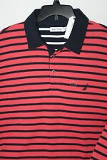 New Nautica 2XL XXL KR8150 Polo Coral Red with Black stripes Long sleeve Cotton