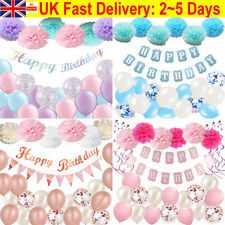 Happy Birthday Decoration Set Balloons Banner Bunting Paper Pompoms party UK