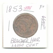 1853 Large Cent Braided Hair Matron 3 Liberty Head Copper Coin 6,641,131 Minted