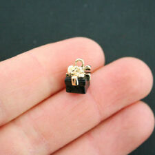 2 Black Present Charms Gold plated Enamel Fun and Colorful 3D Gift Box E217