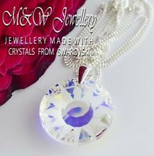 925 SILVER NECKLACE PENDANT CRYSTALS FROM SWAROVSKI® 19MM SUN CRYSTAL AB
