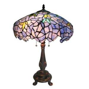 "Tiffany Style Table Lamp Flower/ Vines Stained Glass Blue Gold Green Shade 24"" H"