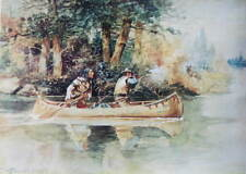 Indian Cowboy hunting moose in canoe by Charles Russell