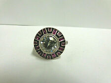 Moissanite/ruby ring sterling silver sz 6.25 wgt 5.1 grams tcw 3.05