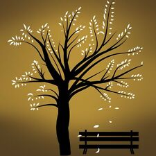 Vinyl Wall Decal Sticker Winter Tree Blossom w/ Bench