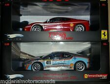 LOT OF 2 FERRARI F430 CHALLENGE RACECARS #411 & #14 1:18 by HOT WHEELS ELITE