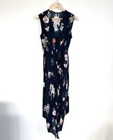 Sheike Size 8 Navy Floral Dress Maxi Length Tie Waist Sleeveless Slit