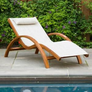 Leisure Season Solid Wood Residential Sling Stackable Outdoor Lounge Chair