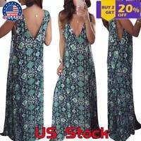Summer Women V-Neck Maxi Dress Boho Floral Print Paisley Holiday Beach Sundress