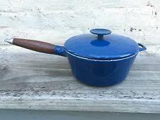 "Vtg. Copco Denmark Blue Enamel Cast Iron Sauce Pot w/ Lid 7 3/4"""
