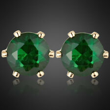 Xmas Lady Gift Green Emerald 18K Yellow Gold Plated Gp Stud Earrings Fashion
